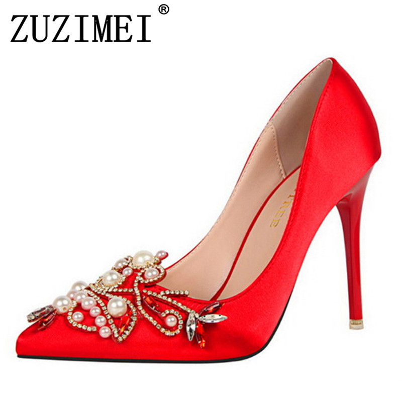 0db403975a US $20.34 40% OFF|Star Style Women Fashion Pearl Crystal High Heels Shoes  2017 New Women's Sexy Pointed Toe Shallow Solid Silk Elegant Party Shoes-in  ...