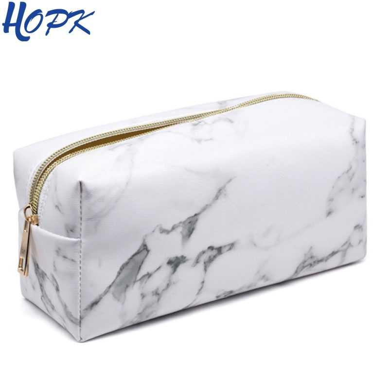 Hopk Marble Pencil Case for Girls Boy Pencilcase Makeup Storage Supplies Big Cosmetic Bag  Pencil Box Pencil Bag School Tools
