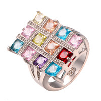 Wholesale Garnet Morganite Aquamarine 925 Sterling Silver Ring Fashion Party Ring Wedding Ring Size 6 7