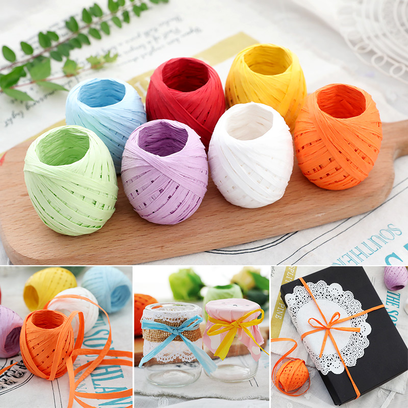 1 Roll 20 Meters CAKE COOKIE Raffia Ribbon Paper Rope Palm Packaging Rope Decorations Baking Box Packing Party Candy Gifts