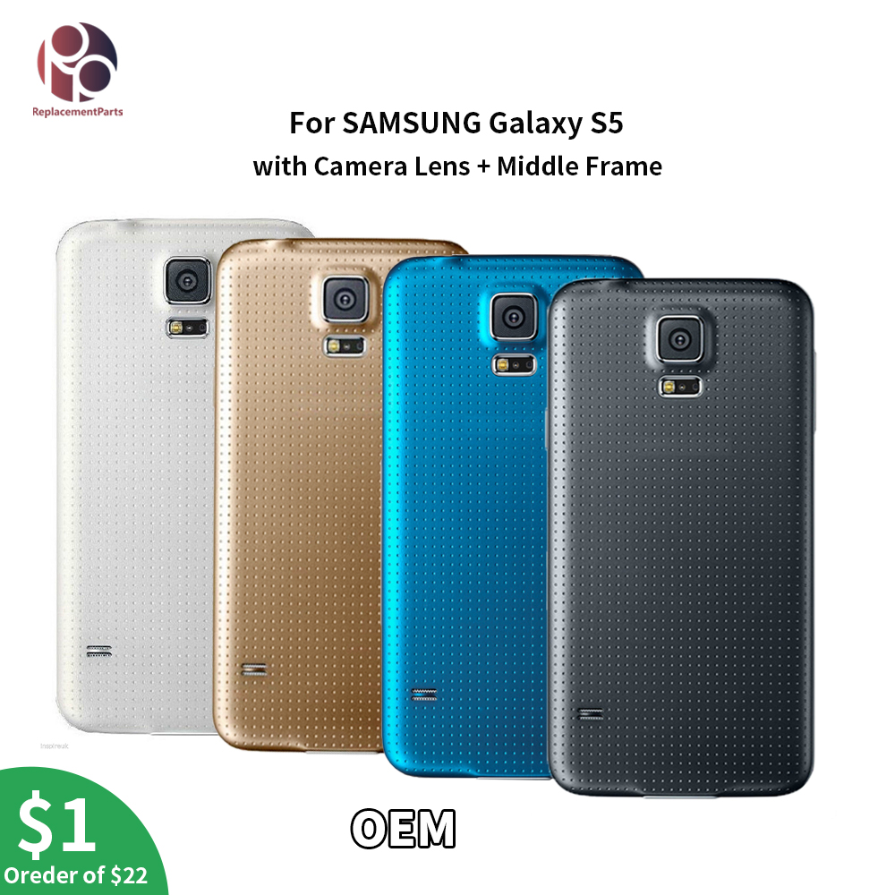 OEM Full Back Housing + Middle Frame + Camera Lens + Rubber Seal Back Cover Replacement Parts For Samsung S5 i9600 G900 G900F