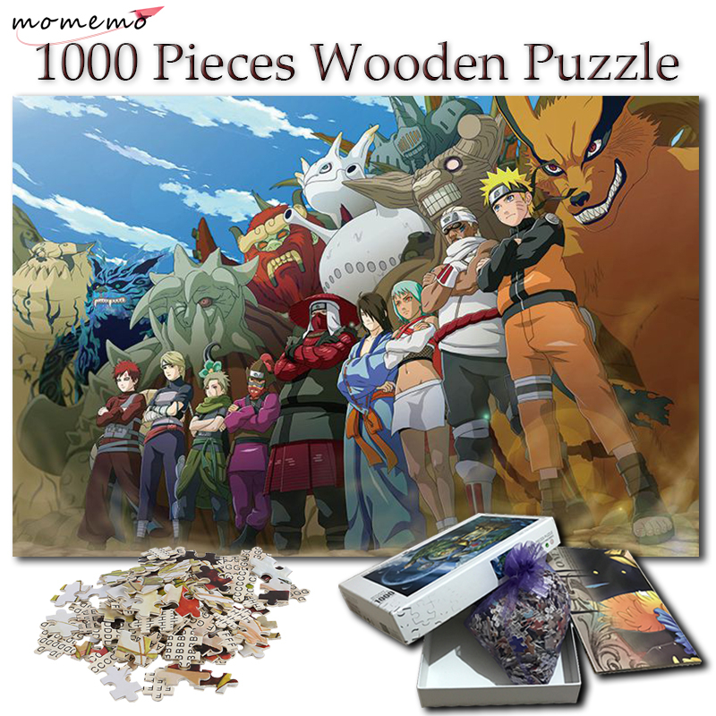MOMEMO Naruto Wooden Puzzle 1000 Pieces Anime All Jinchuuriki Tailed Beasts Jigsaw Puzzles For Adult Cartoon Pattern Puzzle Game
