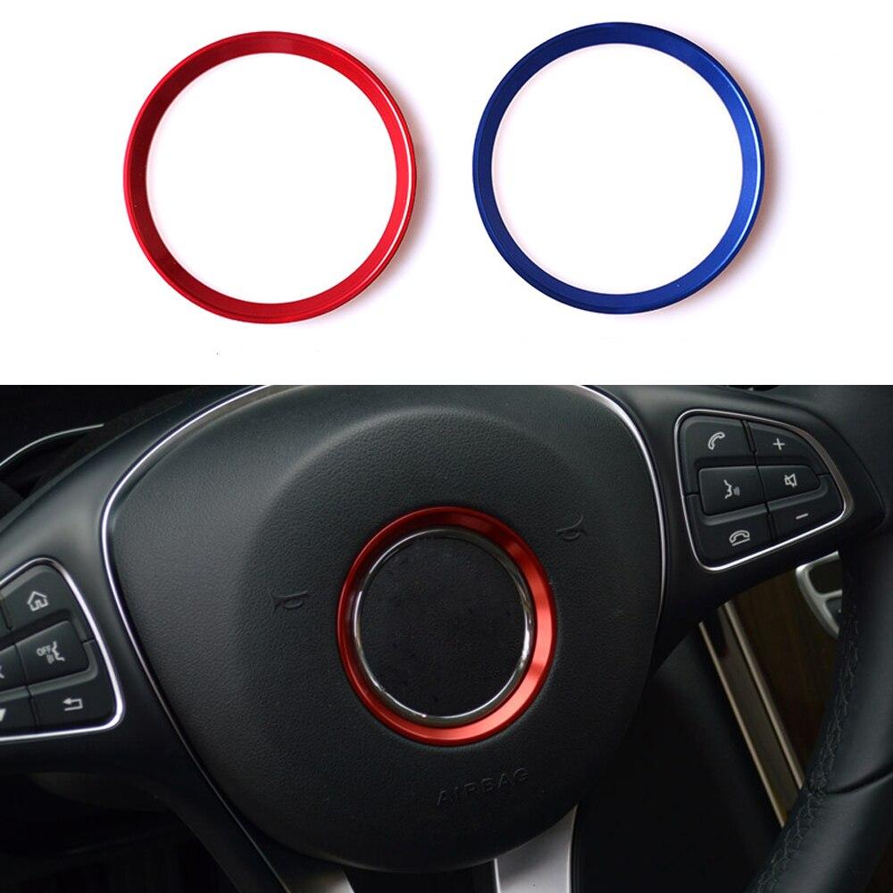 Alüminyum alaşımlı tasarım araba direksiyon etiket yüzük dekorasyon Trim 3D için mercedes-benz A B E r E r E r E r E r E r E r E r E r E r CLA CLS GLE GLK GLA cam