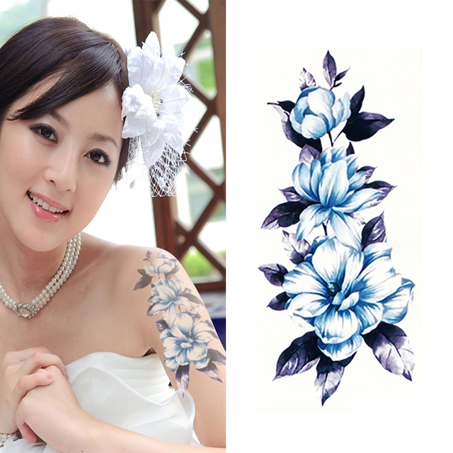 Waterproof Chinese Flower Tattoo Designs Beauty Make Up Body Art Temporary Tattoo Stickers On Hand For Girls Women