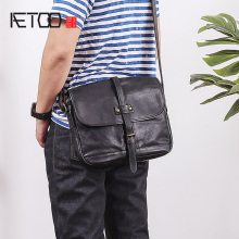 AETOO Single shoulder bag, male leather casual retro postman bag, head layer tanning cowhide man oblique cross bag