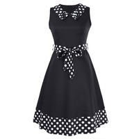 Sisjuly Women Summer White Dress Women A Line Polka Dot Red Dresses Knee Length Patchwork Print