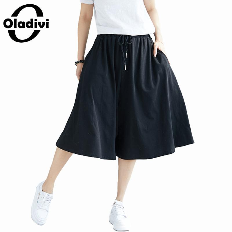 Oladivi Big Plus Size Women Wide Leg Pants Ladies Casual Loose Big Leg Pantalone Capri 2019 Summer New Trousers Oversized Pant