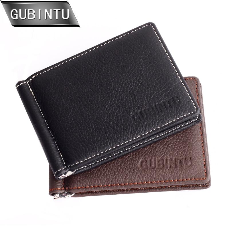 GUBINTU Genuine Leather Money Clip Wallets For Men Slim Front Pocket Wallet With ID Credit Card Cardslots Zipper Pocket Purse