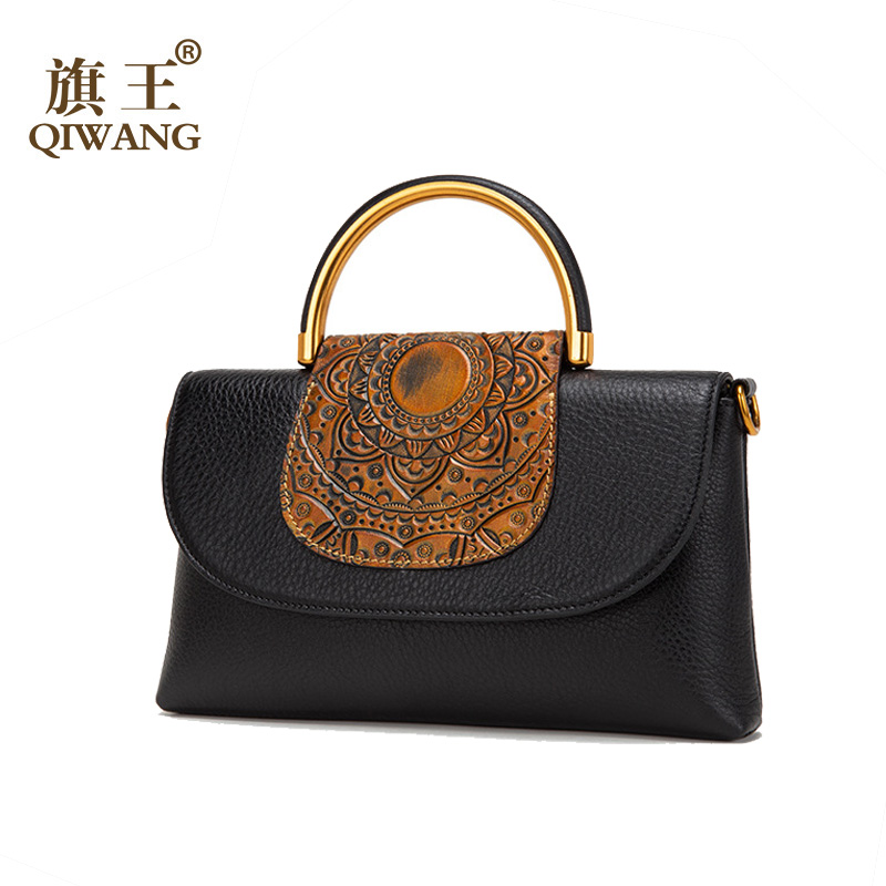 Qiwang Fashion Cowhide Leather Day Clutch One Shoulder Cross body Bag Small Messenger Bag Famous Brand