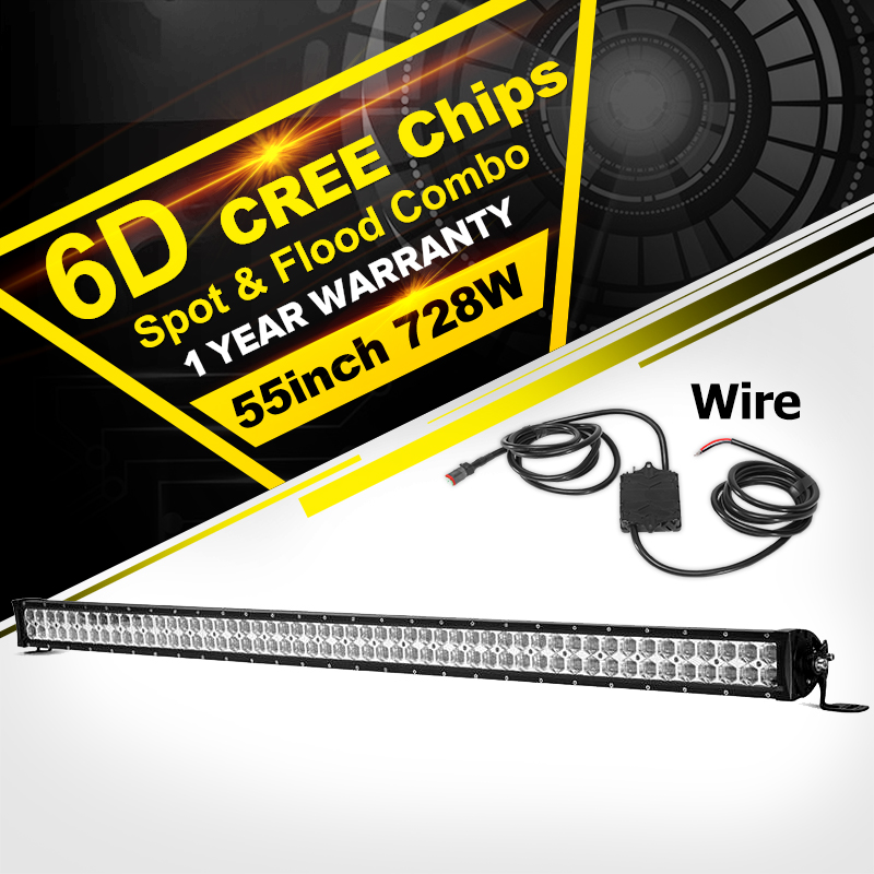 Oslamp 6D LED Light Bar Offroad CREE Chips 55