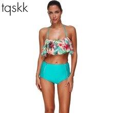 Tqskk пикантные бикини со складками Для женщин купальник принт одежда для плавания женский купальник с подвязками бразильские Плавки бикини комплекты пляж плюс Размеры купальные костюмы
