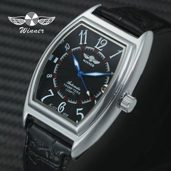 Relógio de pulso mecânico automático da moda das mulheres caso tonneau número árabe calendário relógio de pulso da marca superior de luxo das senhoras de couro