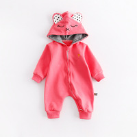 Peninsula Baby Autumn Winter Thick Long Sleeve Hooded Climbing Suit Cat Bears Elephants Cap Baby Romper