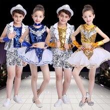 cc7478cdcdcb2 Los niños baile de Jazz moderno trajes de porristas Hip Hop niño niñas Top  y pantalones