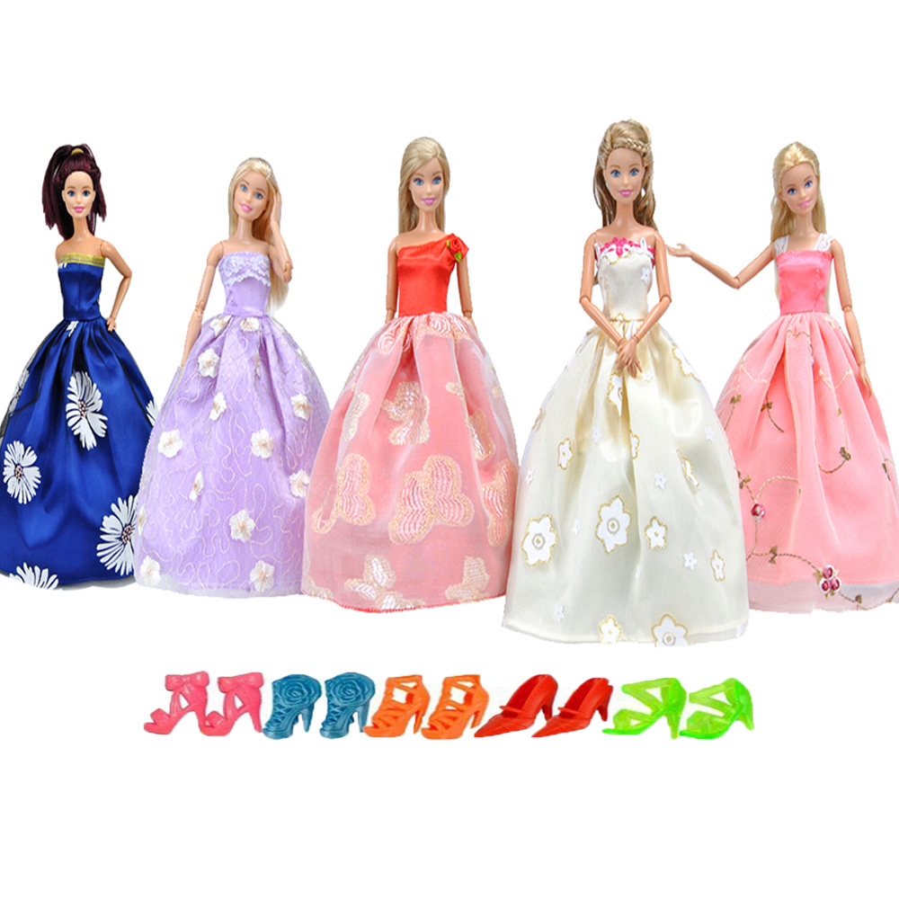 E-TING Real 5 PCS Doll Clothes Fashion Western-style Dress Princess Wedding Party For Barbie Dress Accessories Shoes Girls Gifts autonomous design handmade gifts for girls doll accessories evening suit wedding dress clothes for barbie doll bbi00508