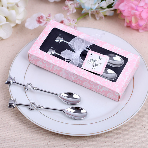 2PCs/Box Small Wedding Gift Wholesale Novelty Gift Stainless Steel Couple Coffee Spoon Hot Sale Creative and Practical Lahore