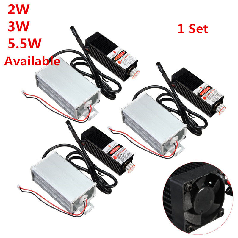 Newest 2W/3W/5.5W 450nm DIY Mini Desktop Laser Head Engraving Machine Module High Power For CNC Engraver Printer/Cutter Machine
