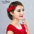 Acessórios de noiva acessório do cabelo estilo chinês acessório do cabelo vermelho toadyisms vestido formal casado Acessório Do Casamento