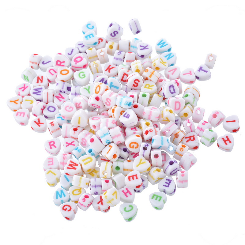 acrylic heart spacer beads engrave letters alphabet mix love heart pattern jewelry findings 68x6