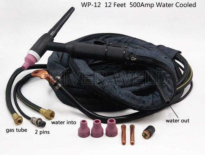 WP-12 Tig Welding Torch Complete Water Cooled 500Amp DC 12Foot ,4M light weight djk35 50 9mm quick gas connector silica gel soft wp 26 wp 26 tig 26 tig torch complete 8m 12feet 26 series