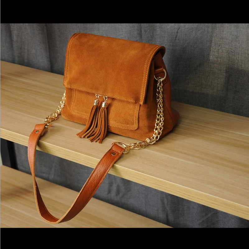 Women Genuine Leather Fringe Shoulder Bags Fashion Cow Suede Tassel Brown Chain Multi Pockets Crossbody Bucket Bags