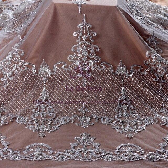 La Belleza Ivory/black/gold fashion style heavy beading lace fabric bride beaded fabric 1 yard