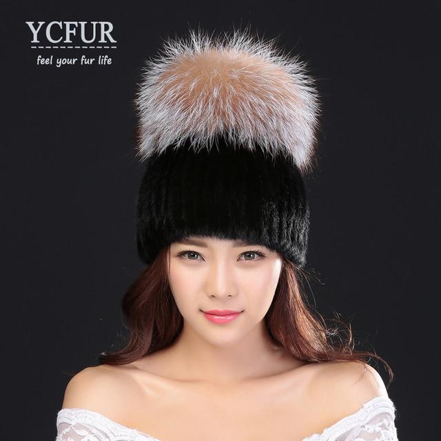 YCFUR Fashion Women's Winter Hats Fur High Quality Genuine Mink Fur Caps With Silver Fox Fur Trims Knit Mink Beanies Female
