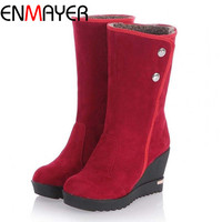 ENMAYER Snow Boots For Women New Hot Winter Warm Fur Wedges boots for Women Platform Half Knee High Thermal Motorcycle Boots