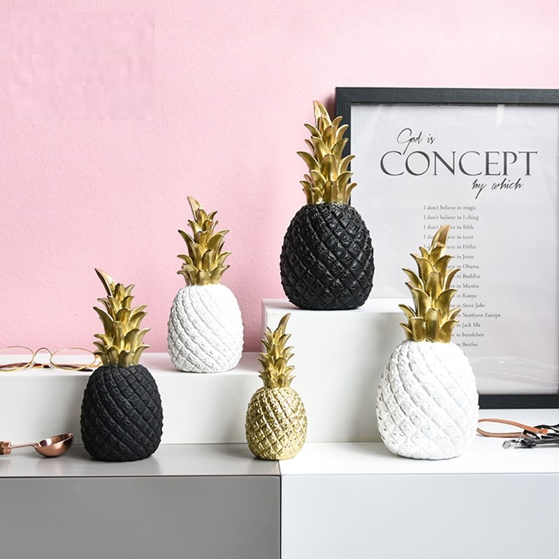 Resin INS Pineapple Figurines Black White Pineapple Statue Fruit Crafts Office Home Decoration L3024