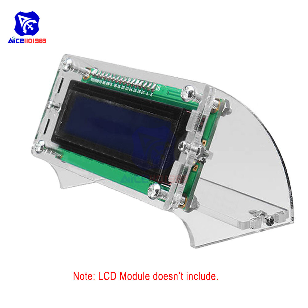 Transparent Acrylic Shell For LCD1602 LCD Blue/Yellow Screen With Screw/Nut LCD1602 Shell Case Holder