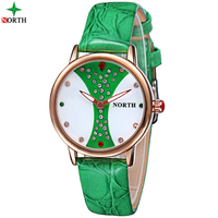 NORTH Women Watches Woman Quartz Dress Watches Ladies Fashion Watch Delicate Leather Rhinestone Watches Waterproof