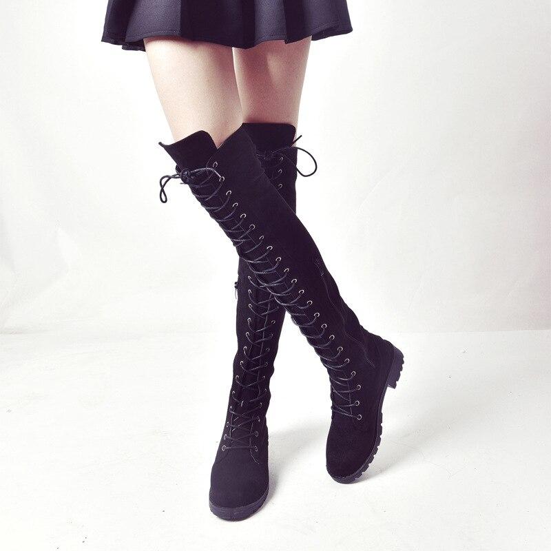 2018 Neue Frauen Über Das Knie Stiefel Flock Leder Lace Up Sexy High Heels Frauen Schuhe Lace Up Winter Stiefel Warm Größe 35-43 Botas