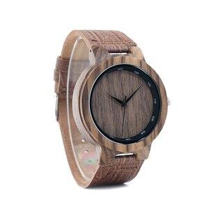 Image 4 - BOBO BIRD WD22 Zebra Wood Watch Men Grain Leather Band Scale Circle Brand Designer Quartz Watches for Men Women in Wooden Box