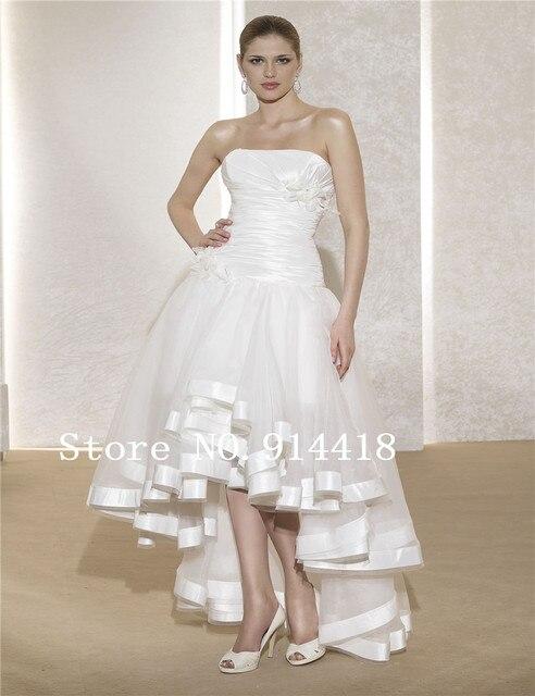 Custom High Low Wedding Dresses Strapless White Taffeta Organza