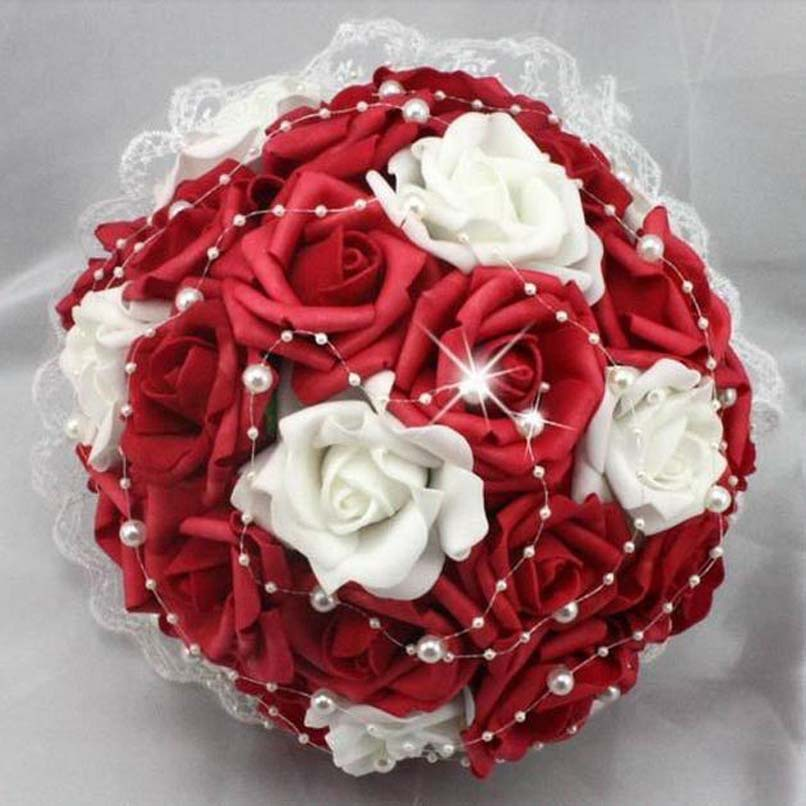Red rose wedding flowers red and white rose flowers artificial red rose wedding flowers red and white rose flowers artificial pearls lace side bridal wedding bouquet bridal bouquet in artificial dried flowers from mightylinksfo