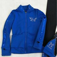 High Quality Ice skate clothes Royal blue Long sleeves woman suits Figure skating