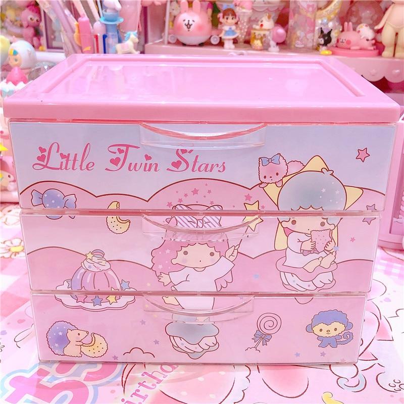 Sanrio Pink My Melody Jewelry Accessories Box Women Makeup Wooden Storage Case