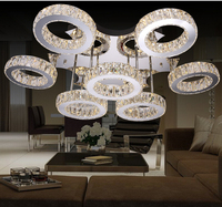Free Shipping LED Stainless Steel Crystal Design Modern Clear Crystal LED Ceiling Light LED Ceiling Lamps