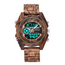 Shifenmei 2139 антикварные мужские зебра и эбенового дерева часы с двойной дисплей бизнес часы в деревянный цифровой кварцевые часы