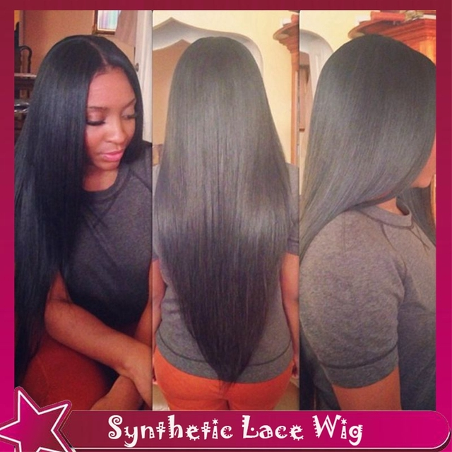 Top Quality Long Silky Straight Heat Resistant Wig Natural Hairline Synthetic Full Lace Front/No Lace Front Wig For Black Women