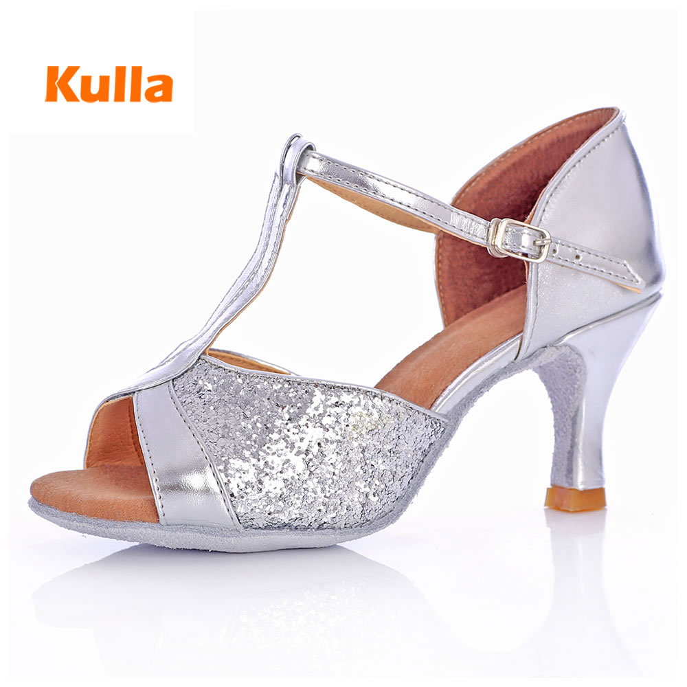 Women Latin Salsa Dance Shoes Silver Sequin Ladies Ballroom Tango Salsa Dancing Shoes High Heels 5/7cm Professional Dance Shoes