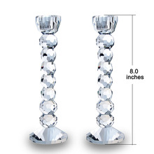 Clear Crystal Glass Pillar Candle Holders – 8″ High. Ideal for Weddings, Party, Spa or Gifts