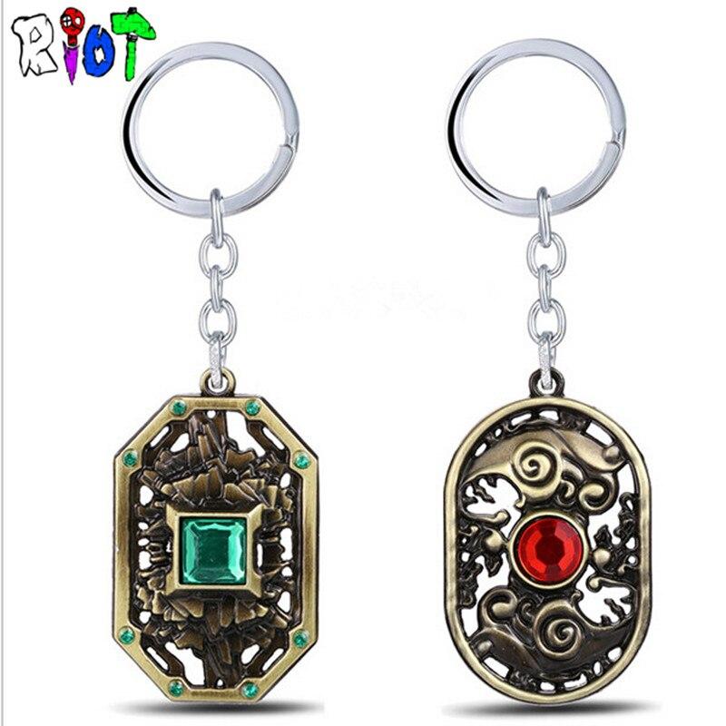 online game DOTA2 Earth Three kaitai spirit storm keychain Metal keyring Copper Plated key holder Men jewelry chaveiro necklace