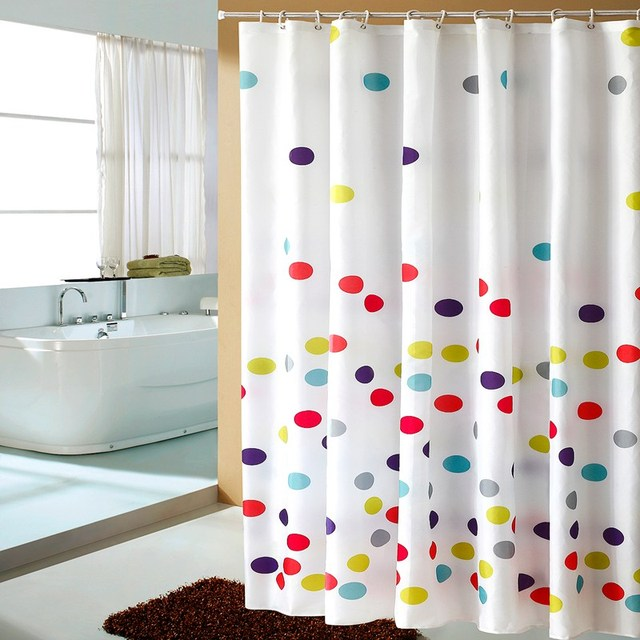 White Bathroom Curtain Polyester Eco Friendly Waterproof Moldproof Plastic Shower Curtains Bath Room Products High