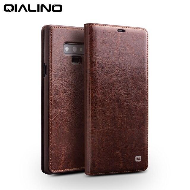 QIALINO אופנה אמיתי עור תיק כיסוי עבור Samsung Galaxy הערה 9 יוקרה Ultrathin כרטיס חריץ מקרה עבור גלקסי הערה 9 6.4 inches