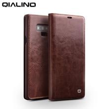 جراب حقيبة من الجلد الأصلي أنيق من QIALINO لهواتف سامسونج جالاكسي نوت 9 حافظة فاخرة بفتحة لبطاقة سامسونج لهاتف جالاكسي نوت 9 مقاس 6.4 بوصة