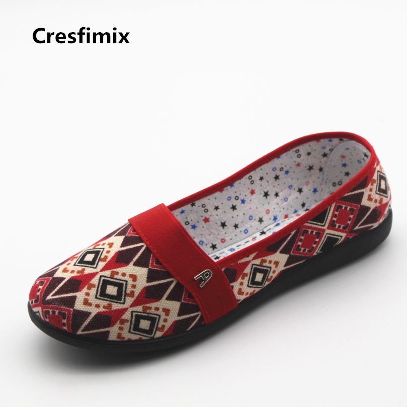 Cresfimix women casual red pattern cloth shoes female cool and soft canvas shoes lady cute spring and summer slip on shoes cresfimix sapatos femininos women casual soft pu leather pointed toe flat shoes lady cute summer slip on flats soft cool shoes