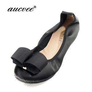 3cf5657b2d aucvee Black Ballet Flats Comfortable Genuine Leather Shoes