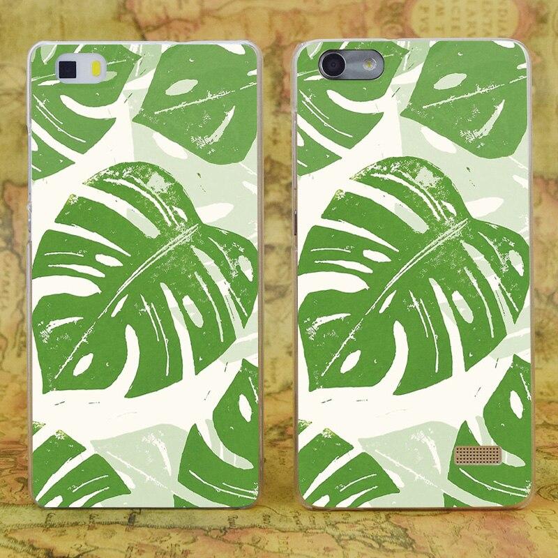 E0165 линогравюра листьев прозрачный жесткий тонкой кожи, чехол для Huawei P 6 7 8 9 lite плюс Honor 6 7 4c 4x G7