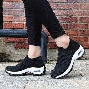 Image 1 - Tênis feminino, tênis meia preto plataforma macio confortável para moças sapatos para mulheres primavera 2019